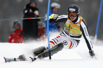 Neureuther of Germany skis to the eighth best time in the first run of the men's World Cup slalom in Beaver Creek