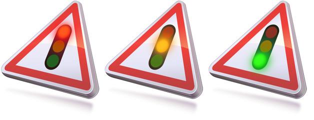 Panneau de danger feux tricolores allumés 3D