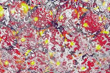 Impressionist abstract background of swirls and squiggles in red, white and yellow