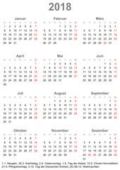 Einfacher Kalender 2018 mit gesetzlichen Feiertagen für Deutschland