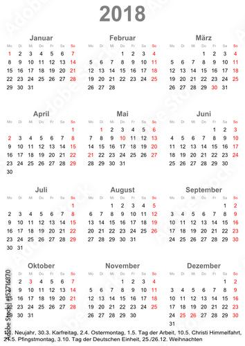Quot Einfacher Kalender 2018 Mit Gesetzlichen Feiertagen F 252 R