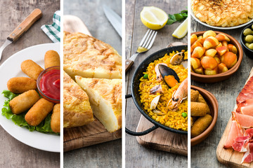 Spanish food collage: Seafood paella, croquettes, tapas and omelette