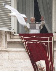Pope Benedict XVI gestures as he leads his Angelus prayer from the window of his private apartment in Saint Peter's Square at the Vatican