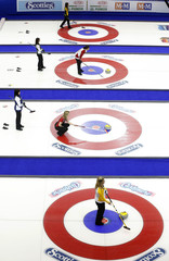 Teams from Northern Ontario, Newfoundland and Labrador, Prince Edward Island, Nova Scotia, Ontario and Manitoba take to the ice for draw 4 during the Scotties Tournament of Hearts in Moose Jaw.