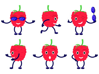 Vector illustration set cartoon funny raspberry. Isolated white background. Flat style. Group of icons of red laughing raspberries.
