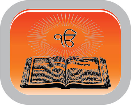 The symbol of the Sikhism Holy book Guru Granth Sahib, button, vector
