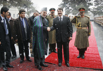 Hungary's President Ader shakes hands with his Afghan counterpart Karzai after inspecting the guards of honor at the presidential palace in Kabul