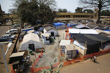 The Medecins Sans Frontieres Ebola treatment centre in the grounds of Donka Hospital is seen in Conakry