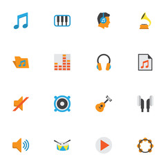 Music Flat Icons Set. Collection Of Media, Portfolio, Acoustic And Other Elements. Also Includes Symbols Such As Listen, Male, Instrument.