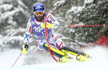 Grange of France clears a pole during the men's Alpine Skiing World Cup slalom in Wengen