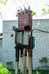 Old transformer in a street