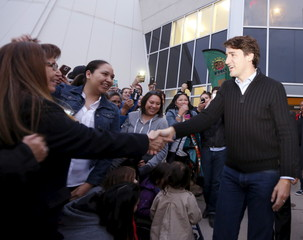 Prime Minister Trudeau greets the crowd after a meeting with the File Hills Qu'Appelle Tribal Council in Fort Qu'Appelle, Saskatchewan