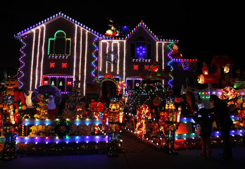 A house is seen decorated with Christmas lights in the borough of Queens in New York