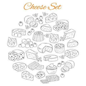 Vector set of various types of cheese, hand drawn illustration isolated on white background.
