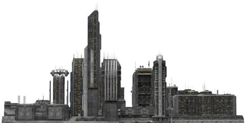 Future Cityscape Isolated On White 3D Illustration