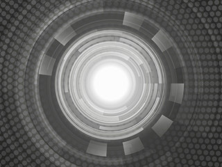 Grey geometric technology background. Vector abstract graphic design