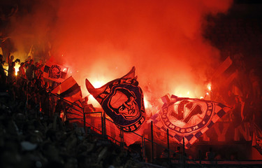 FC Copenhagen's fans cheer for their team during their Champions League soccer match against Viktoria Plzen in Prague
