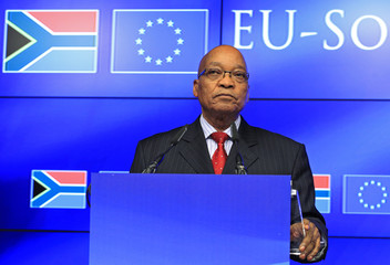 South African President Zuma speaks at a news conference at the end of a European Union-South Africa summit in Brussels
