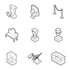 Museum icons set, outline style
