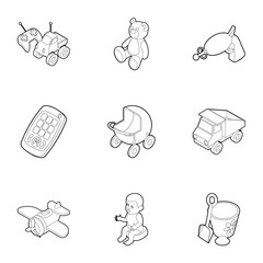 Fun games for kids icons set, outline style