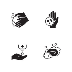 Hands hygiene icons set
