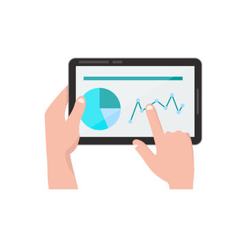 hands with tablet pc. vector flat cartoon illustration icon design. Business concept. Graphics, statistics. Isolated on white background