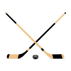Hockey stick and puck icon. Vector illustration