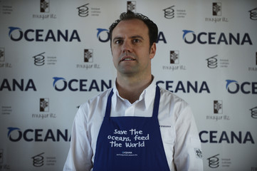 """Chef Brett Graham poses during the presentation of """"Save the Ocean Feed the World"""" at the Basque Culinary Centre in San Sebastian"""