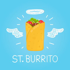 "Heaven burrito concept ""St. burrito"" with angel halo and wings. Flat and doodle vector isolated meal, delivery, cafe, fun illustration icon. Love burrito for fast food cafe"
