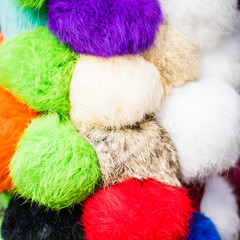 The different bright pompons