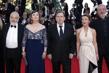 """Director Mike Leigh and cast members Bailey, Spall and Atkinson and and Director of Photography Dick Pope pose on the red carpet as they arrive for the screening of the film """"Mr. Turner"""" in competition at the 67th Cannes Film Festival in Cannes"""