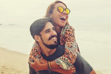 Happy hippie love couple in vintage summer style