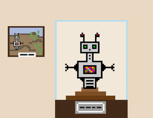 Composition in pixel style. The robot researcher stands on the pedestal, as a museum exhibit. Next to him is a picture showing a robot against the backdrop of a rocky landscape.