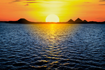 Beautiful Sunset View Of The Egyptian Pyramids