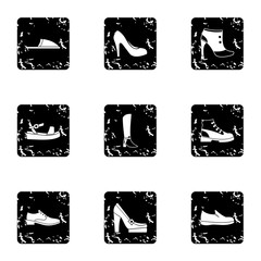 Footwear icons set, grunge style
