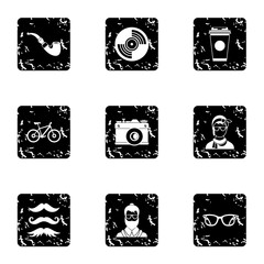 Hipsters icons set, grunge style
