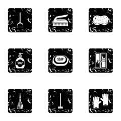 Cleaning services home icons set, grunge style