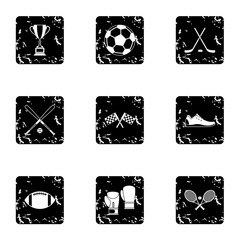 Training icons set, grunge style