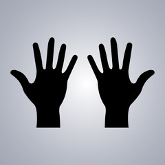 Two hands icon on a grey background