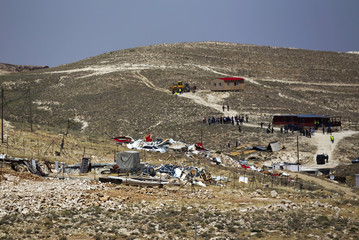 A general view shows where temporary structures were demolished in the West Bank Jewish settler outpost of Maale Rehavam
