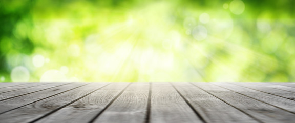 Spring background with wooden terrace