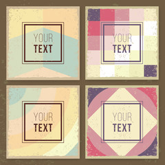 Vintage creative cards. Hipster textures. Retro patterns for Posters, Flayers and Banner Designs. Template.