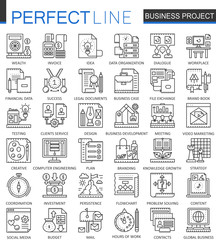 Business project outline concept symbols. Strategy management perfect thin line icons. Modern stroke linear style illustrations set.