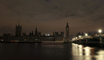 The Houses of Parliament are pictured with their lights extinguished during Earth hour in London