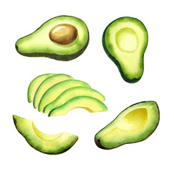 avocado set, watercolor illustration of halved and sliced avocado. Isolated illustration for recipe, cookbook design