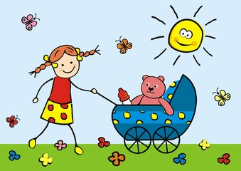 girl and pram with teddy, vector illustration