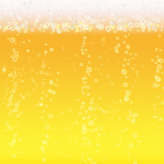Beer Foam Background. Light Bright, Bubble And Liquid. Vector Illustration