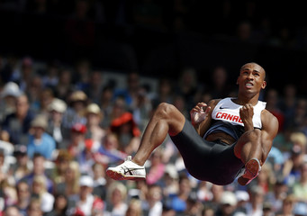 Canada's Damian Warner competes in the men's decathlon pole vault event at the London 2012 Olympic Games
