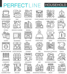 Household appliances outline concept symbols. Perfect thin line icons. Modern stroke linear style illustrations set.