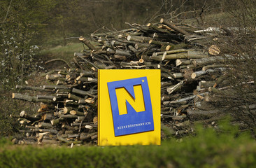 The logo of Niederoesterreich (Lower Austria) province is pictured at the side of a road in Klosterneuburg